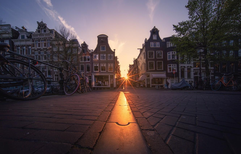 Фото обои солнце, улица, здания, велосипеды, Amsterdam - My Home
