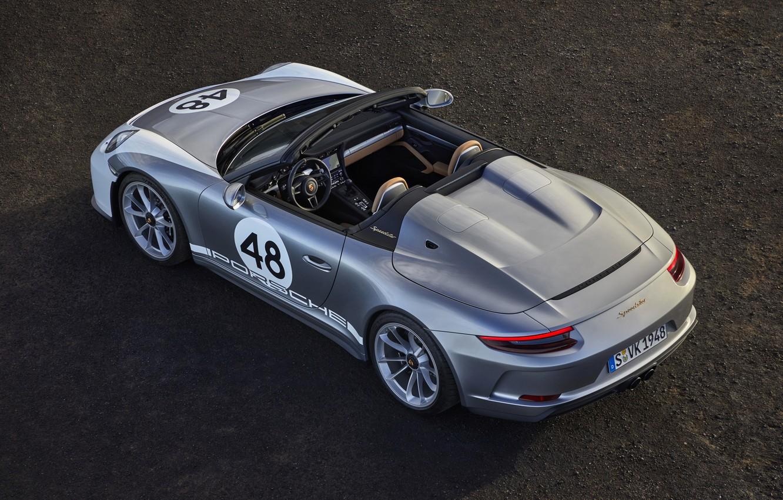 Фото обои асфальт, 911, Porsche, сверху, Speedster, 991, 2019, серо-серебристый, 991.2