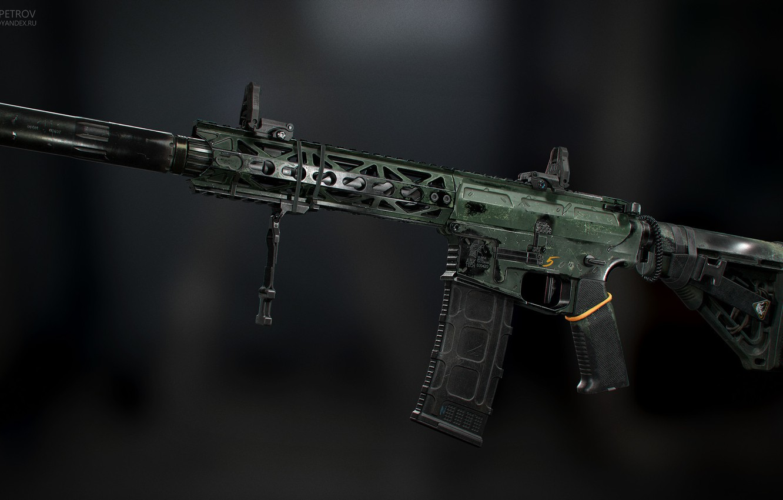 Фото обои рендеринг, оружие, gun, weapon, render, глушитель, custom, m4a1, штурмовая винтовка, assault Rifle, м4а1, silencer, ар …