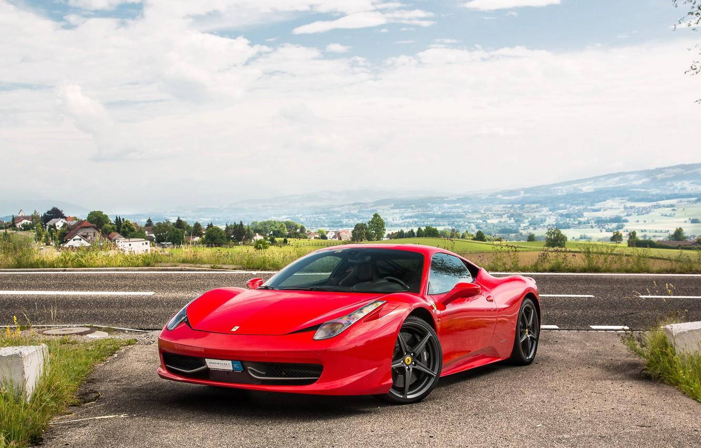 Фото обои Ferrari, red, 458, Italia