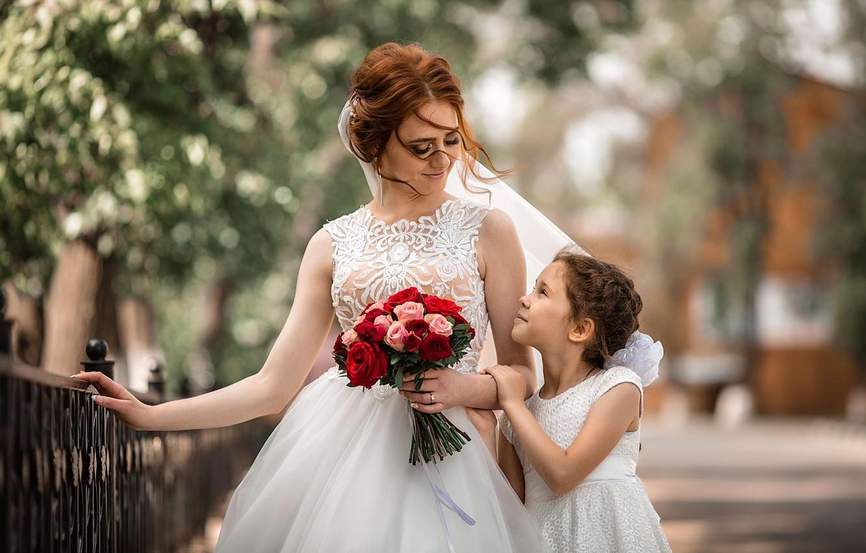 Фото обои цветы, женщина, букет, девочка, невеста, мама, ребёнок, свадьба, дочь, мать, Владимир Васильев