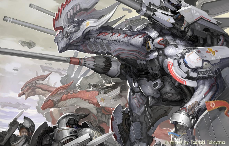 Фото обои guns, fantasy, robot, armor, science fiction, army, sci-fi, weapons, digital art, artwork, fantasy art, spears, …