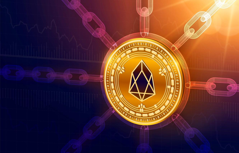 Фото обои eos, осветление, chain, cryptocurrency, blockchain, еос