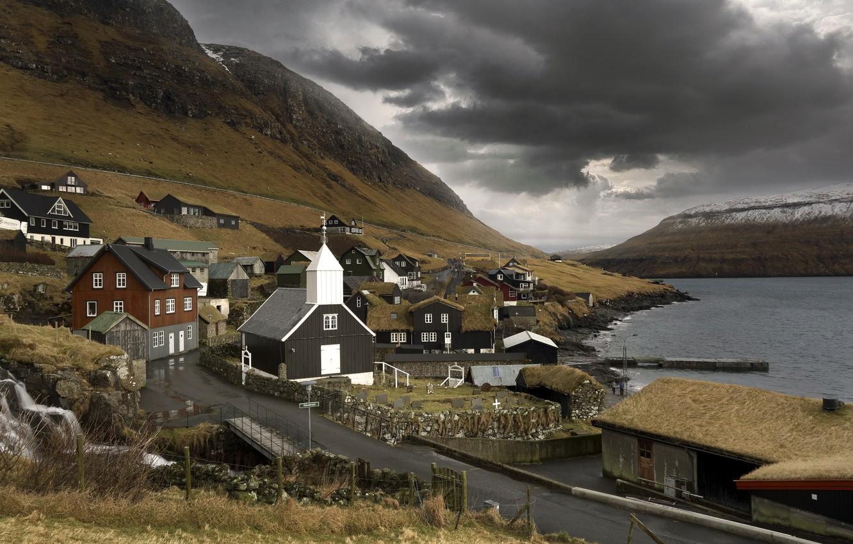 Фото обои дорога, берег, Bour, Faroe islands