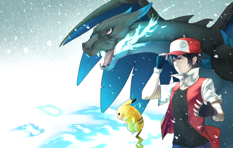 Фото обои парень, пикачу, Покемон, Pokemon, Чаризард