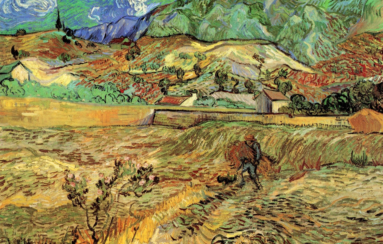 Фото обои Vincent van Gogh, Field with Peasant, мужчина в огороде, Enclosed Wheat