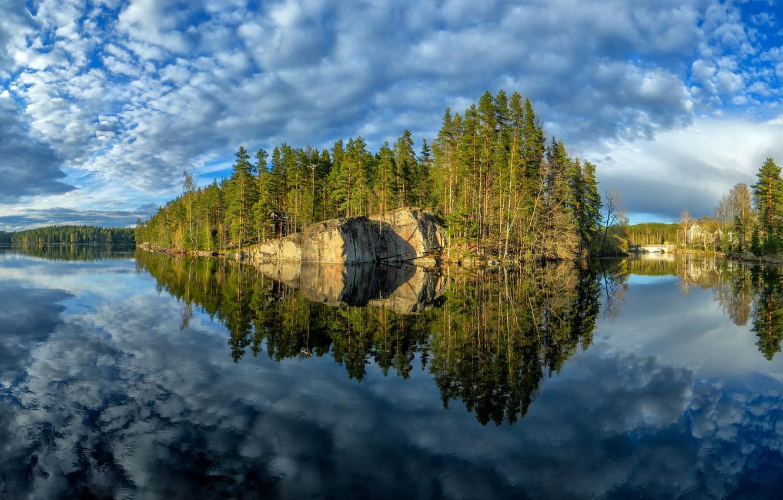 Фото обои деревья, озеро, отражение, остров, Финляндия, Finland, Kymenlaakso, Верла, Кюменлааксо, Verla