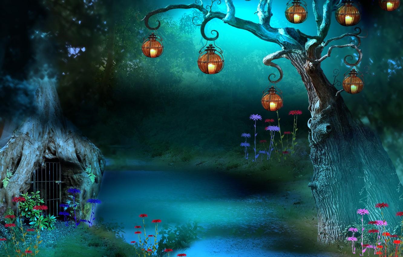 Фото обои трава, цветы, ночь, дерево, решетка, grass, речка, волшебный мир, фонарики, river, grid, night, flowers, tree, …