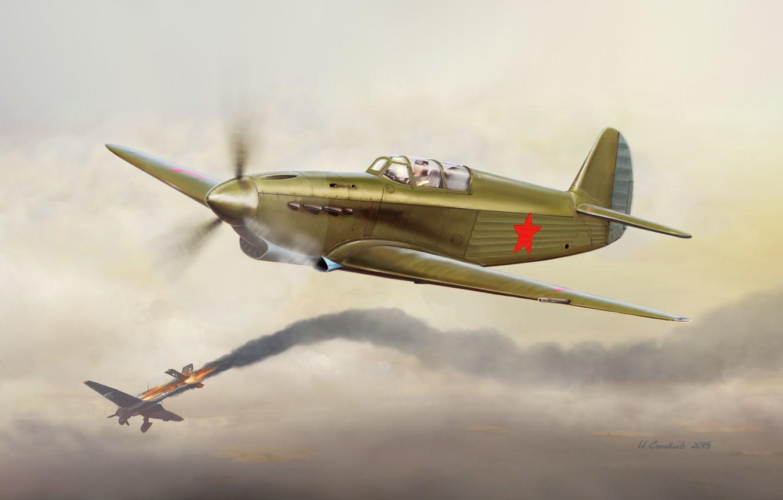 Обои война, сражение, сбитый юнкерс, рисунок. Авиация foto 9