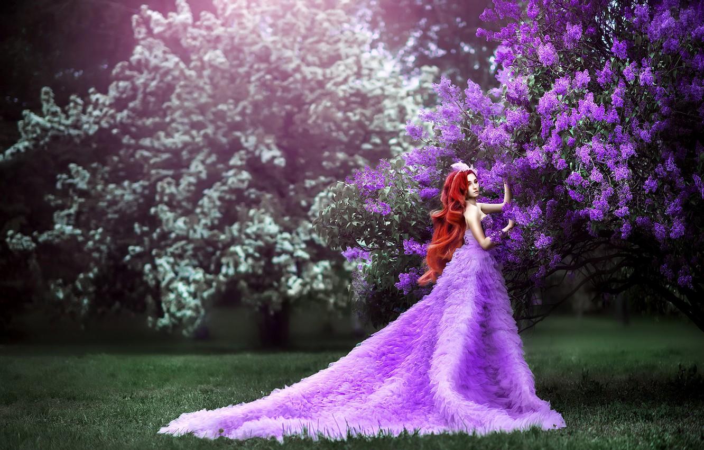 Фото обои трава, девушка, цветы, ветки, поза, газон, поляна, весна, сад, платье, фэнтези, фотограф, рыжая, прогулка, принцесса, …