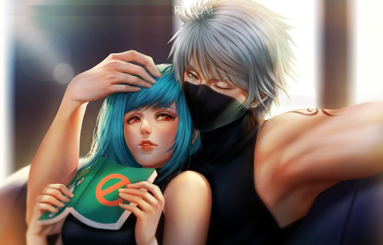 Фото обои любовь, руки, парочка, на диване, голубые волосы, книжка, Naruto Shippuden, Kakashi Hatake, Наруто Ураганные хроники, …