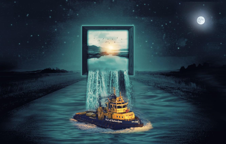 Фото обои ночь, поля, водопад, Луна, экран, судно, фотоманипуляция, дорога река