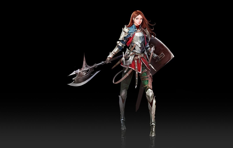 Фото обои Girl, Fantasy, Art, Style, Minimalism, Characters, Shield, Armor, Ha Donghyun