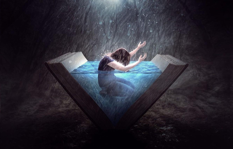 Фото обои вода, темный фон, дождь, человек, rain, water, man, погружение, fantasy art, знания, открытая книга, dark …