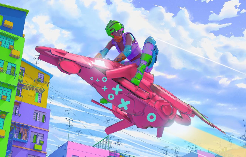 Фото обои Город, Стиль, Байк, Sky, Цвета, Art, Speed, Style, Фантастика, Bike, Colors, Science Fiction, Cyberpunk, Mecha, …