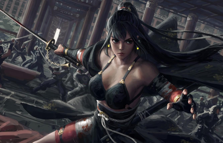 Фото обои girl, sword, fantasy, weapon, war, ponytail, katana, fight, battle, samurai, artist, digital art, artwork, concept …