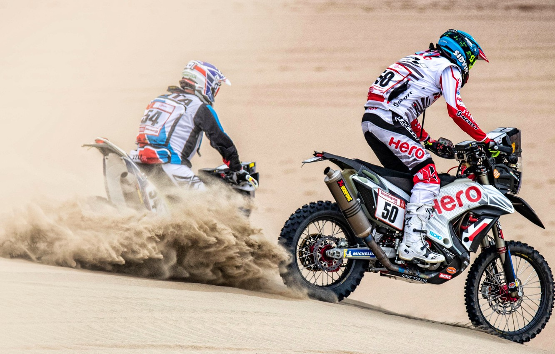 Фото обои Песок, Пыль, Спорт, Пустыня, Гонка, Мотоцикл, Rally, Dakar, Дакар, Ралли