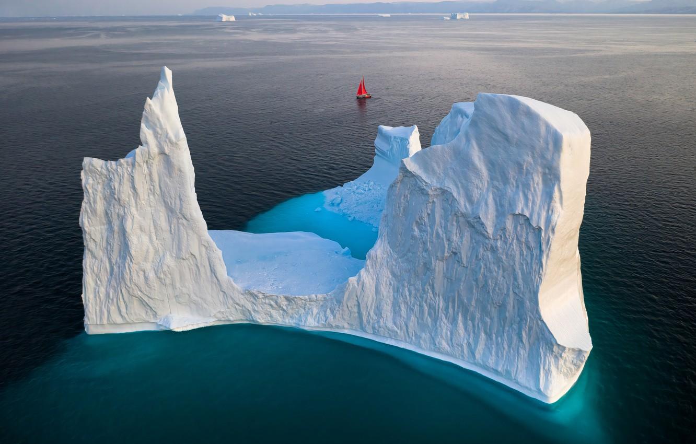 Фото обои парусник, айсберг, iceberg, Гренландия, sailboat, greenland, Gerald Macua