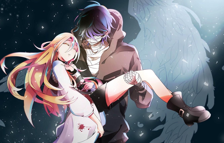 Фото обои девушка, романтика, аниме, пара, парень, Ангел кровопролития, Satsuriku no Tenshi