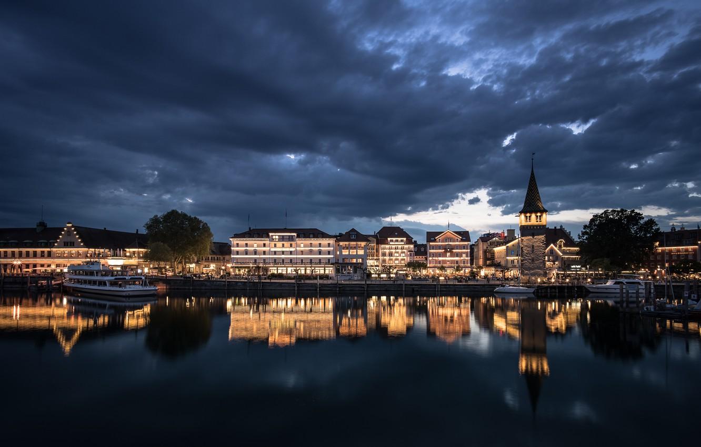 Фото обои ночь, город, Lindau