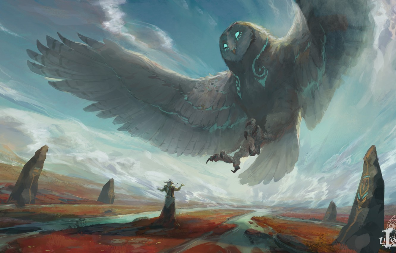 Фото обои взгляд, облака, сова, крылья, фэнтези, арт, божество