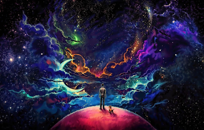 Фото обои космос, туманность, планета, собака, парень