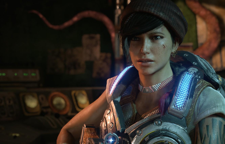 Фото обои брюнетка, красотка, gears of war, games, gears of war 4, microsoft game studios, кейт диаз, …