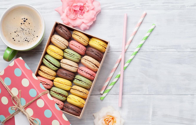 Фото обои коробка, кофе, печенье, миндальное