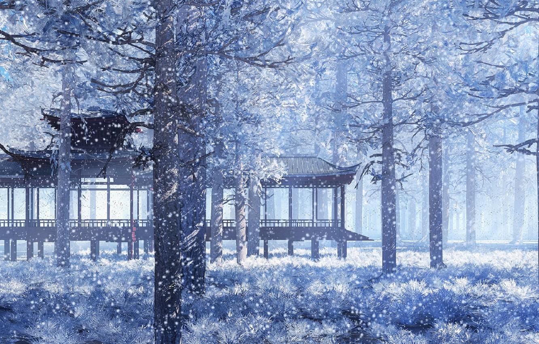 Фото обои снег, парк, Япония, беседка, снегопад, зимняя сказка, еловый лес