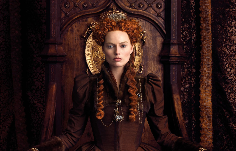 Фото обои платье, прическа, постер, рыжеволосая, трон, история, драма, королева, Margot Robbie, Марго Робби, биография, Mary Queen …