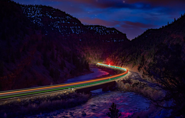 Обои дорога, ночь, огни. Разное foto 17