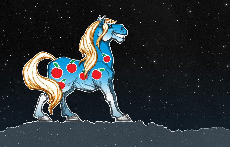 Фото обои животные, космос, конь, лошадь, кони, звёзды