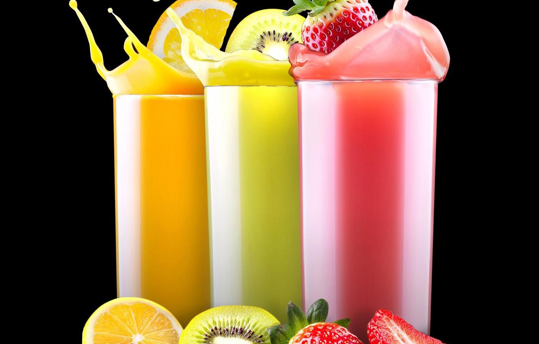 Обои сок, стакан, клубника. Еда foto 10