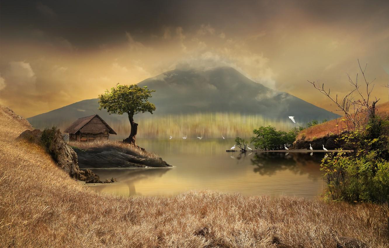 Фото обои трава, деревья, пейзаж, птицы, природа, пруд, камыши, графика, гора, домик, digital art, цапли