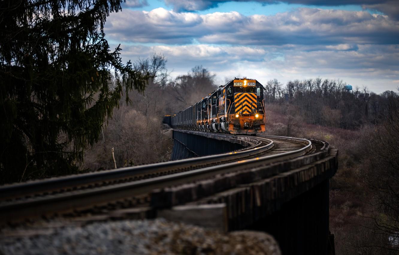 Обои поезд, небо, Пейзаж. Разное foto 12