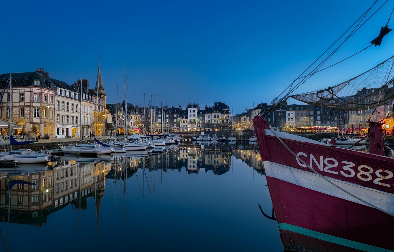 Фото обои Франция, пристань, лодки, вечер, Honfleur
