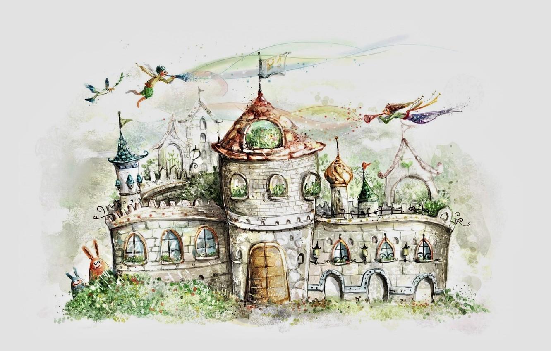 Фото обои замок, рисунок, сказка, ворота, флаг, эльфы, серый фон, шпили, замок-крепость, белый голубь, ушастые, бани