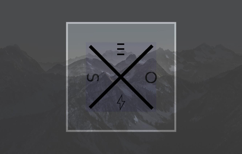 Фото обои Горы, Логотип, квадрат, минималзим