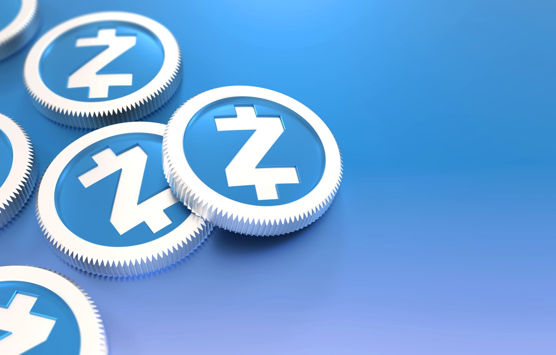 Фото обои голубой, монеты, объём, криптовалюта, zcash, zec