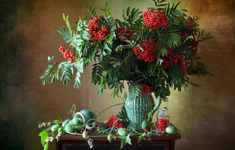 Фото обои ветки, ягоды, плоды, кружка, банка, кувшин, натюрморт, рябина, грозди, Мила Миронова, эхиноцистис, колючеплодник