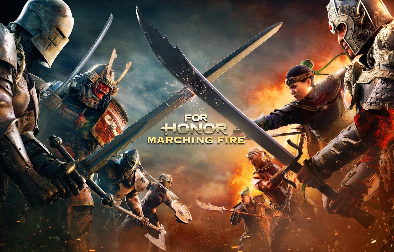 Фото обои Игра, Доспехи, Шлем, Воины, Мечи, Games, Game, For Honor, Квест, For Honor: Marching Fire