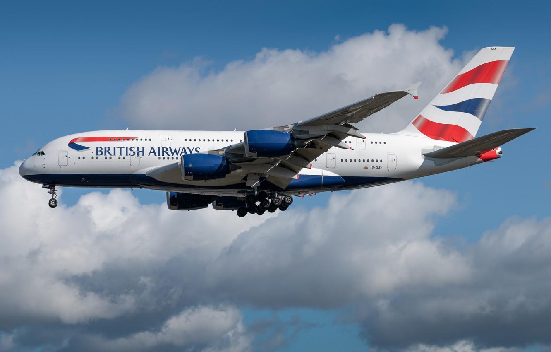 Фото обои Airbus, British Airways, A380-800