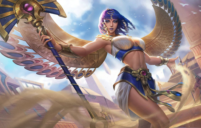 Фото обои взгляд, девушка, крылья, фэнтези, арт