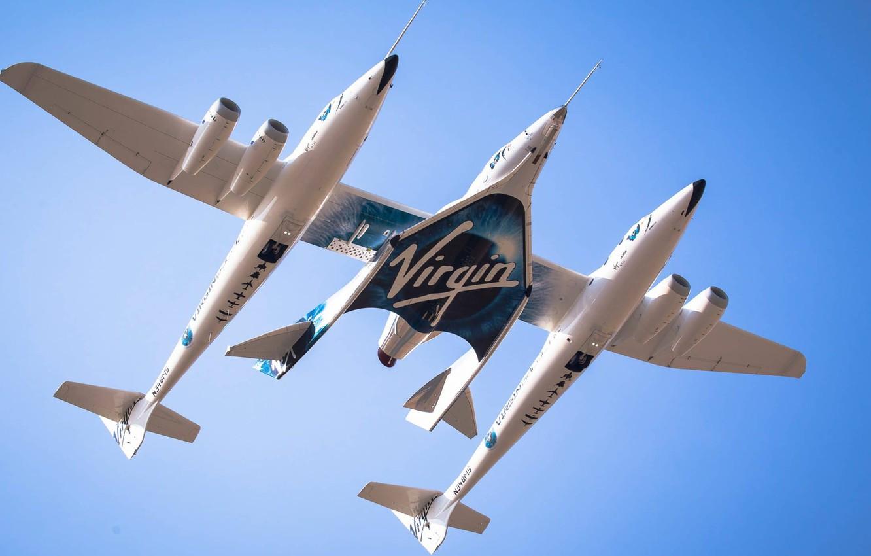 Фото обои Spaceship, Plane, VSS Enterprise, White Knight Two, Virgin Galactic