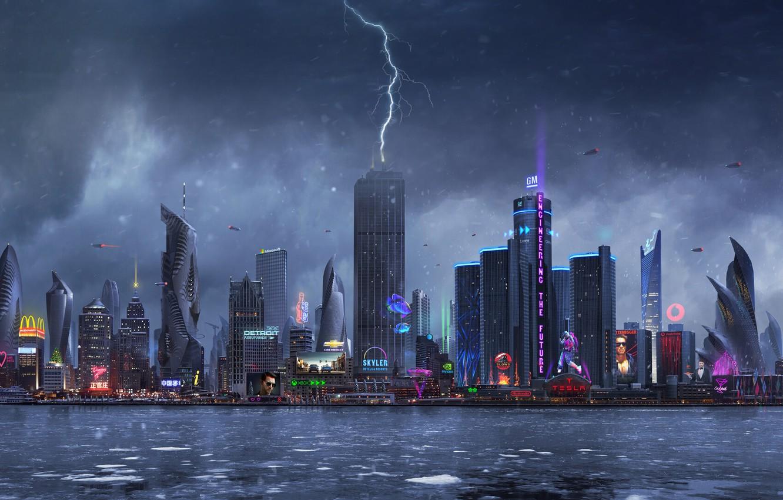 Фото обои Город, Неон, Молния, Дождь, Небоскребы, Здания, City, Архитектура, Арт, Art, Lightning, Фантастика, Rain, Neon, Fiction, …