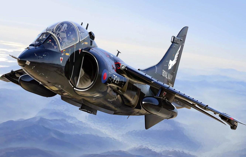 Фото обои BAE Harrier II, вертикального взлёта и посадки, Королевские ВМС, британский палубный, Королевский военно-морской флот Великобритании, ...