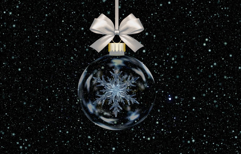 Фото обои шарик, Новый Год, Рождество, снежинка