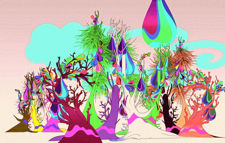 Фото обои яркие краски, деревья, абстракция, рисунок, арт, холст, акрил