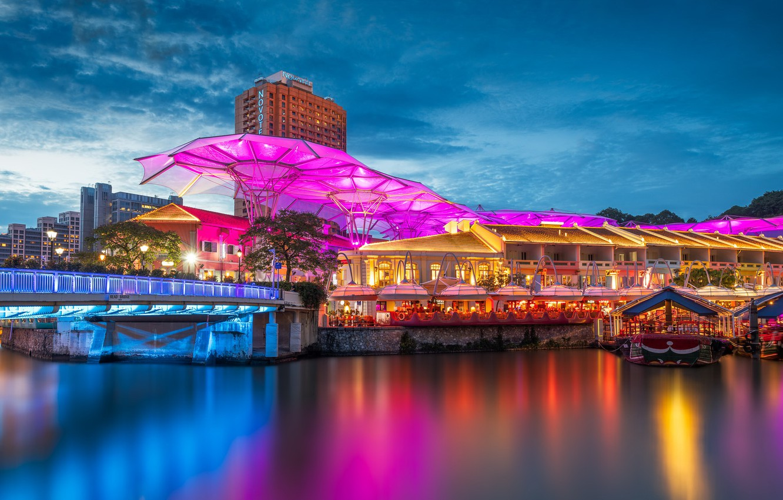 Фото обои ночь, город, Singapore