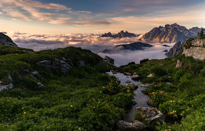 Фото обои облака, горы, Италия, Доломиты